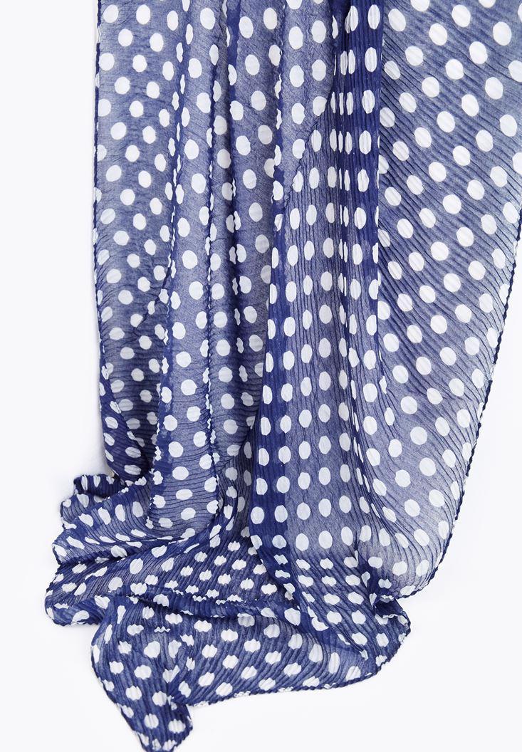 Bayan Lacivert Puantiye Desenli Uzun Şal