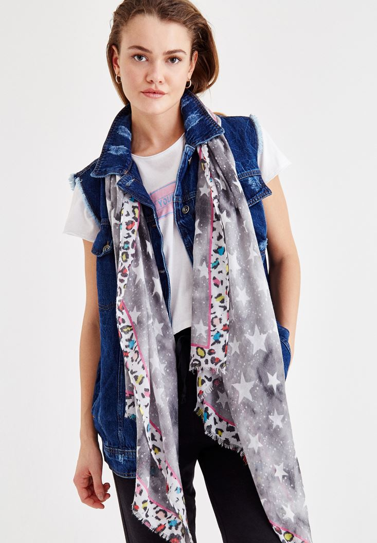 Mixed Scarf with Star Pattern