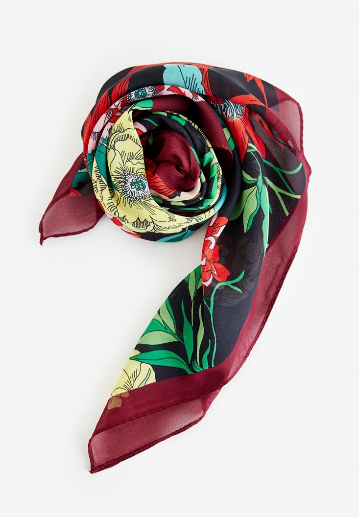 Mixed Scarf with Flower