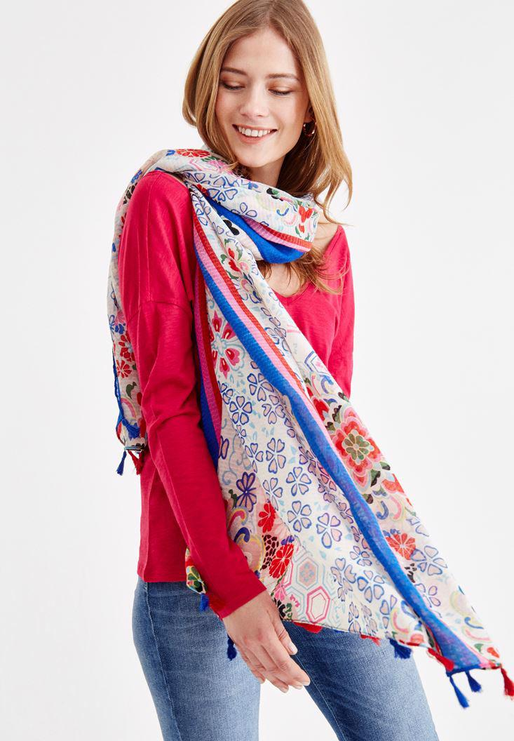 Women Mixed Patterned Scarf with Print Detials