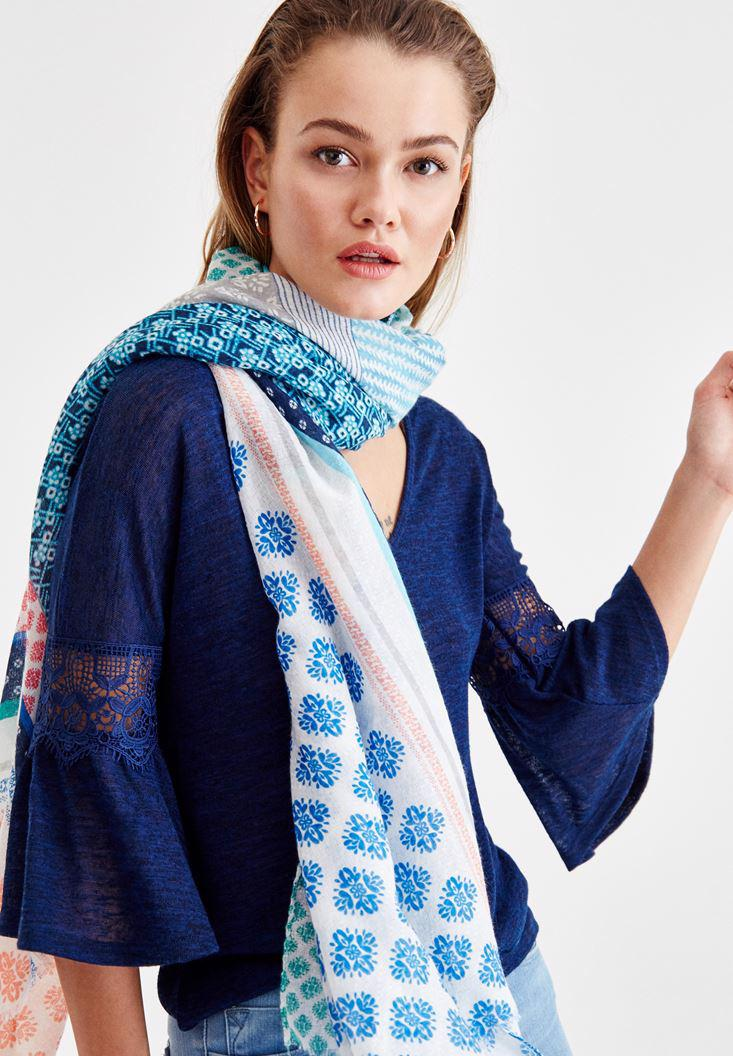 Women Mixed Shawl with Pattern Details