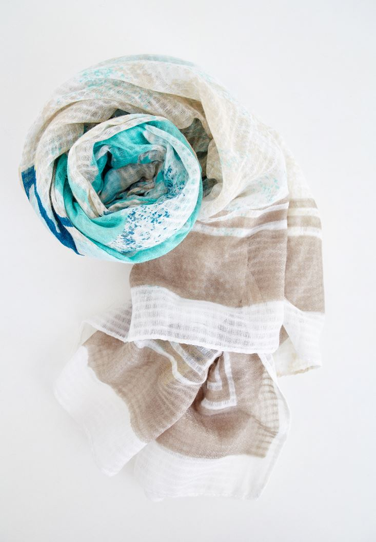 Mixed Printed Scarf with Details