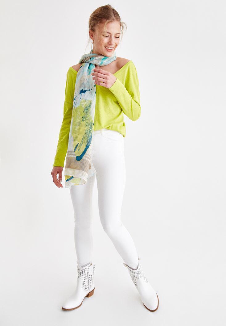 Bayan Çok Renkli Baskılı Uzun Şal
