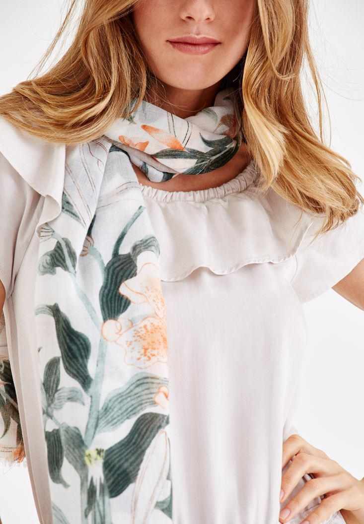 Women Mixed Scarf with Flower Pattern and Tassel