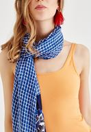 Women Mixed Scarf with Floral Details