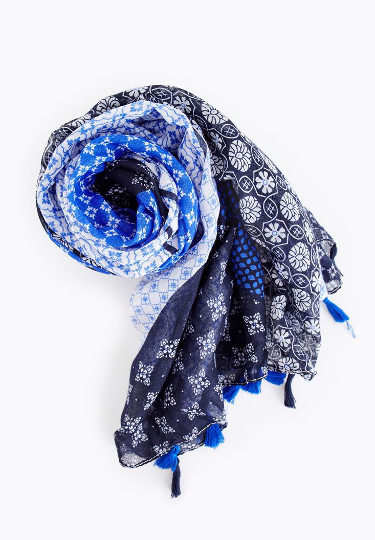 Women Navy Patterned Scarf with Fringe Details