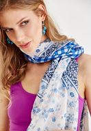 Women Navy Scarf with Mix Pattern Details