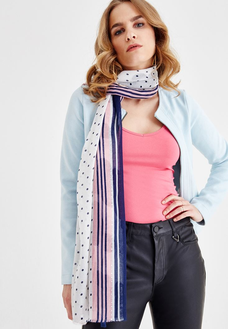 Navy Long Shawl with Pattern