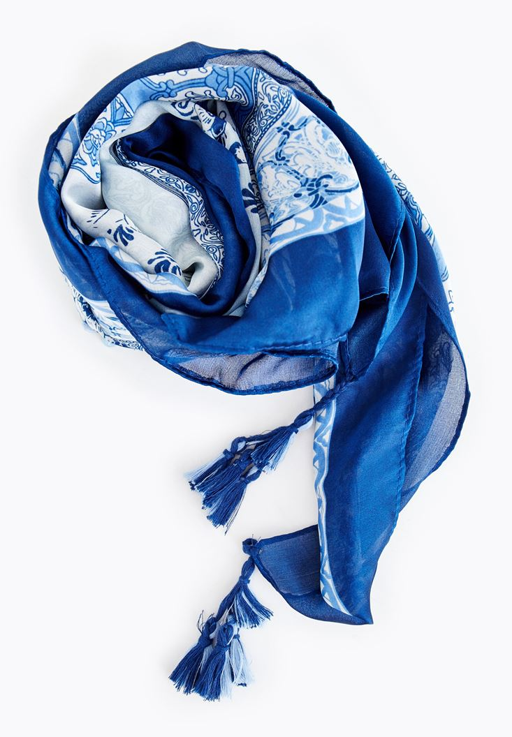 Navy Patterned Scarf with Details