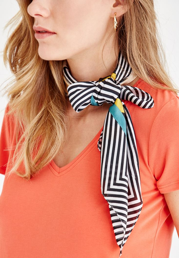 Black Striped Scarf with Details1