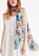 Women Mixed Scarf with Flower Pattern and Tassel Details