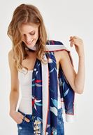 Women Navy Mix Patterned Scarf with Stripe Details