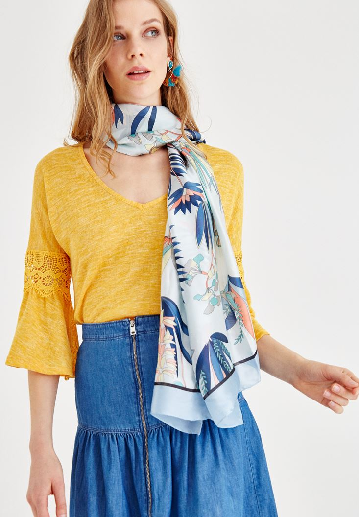 Mixed Mix Patterned Scarf with Stripe Details