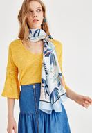 Women Mixed Mix Patterned Scarf with Stripe Details