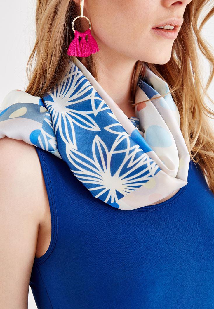 Women Navy Scarf with Polka Dot and Flower Pattern