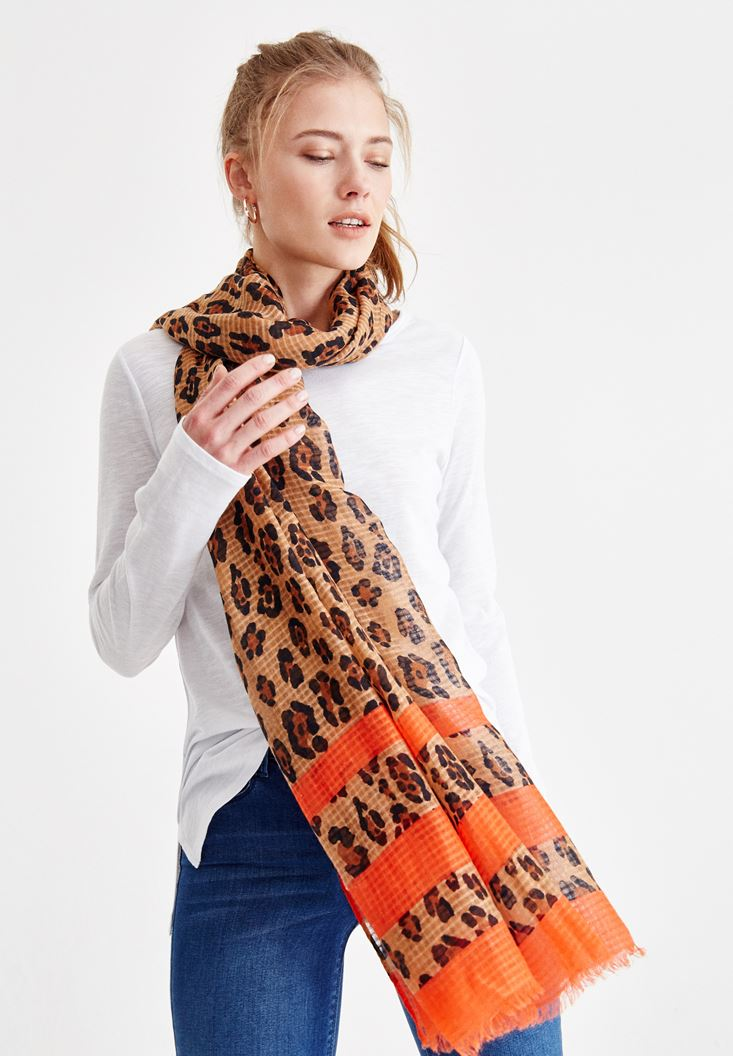 Mixed Leopard Patterned Scarf