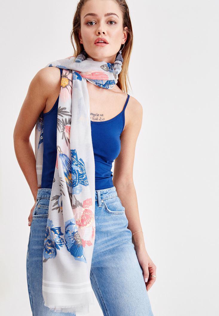 Bayan Çok Renkli Çiçek Desenli Uzun Şal
