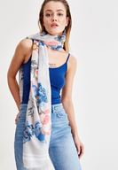 Women Mixed Long Shawl with Flower Patterned