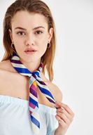 Women Mixed Scarf with Stripe Detail