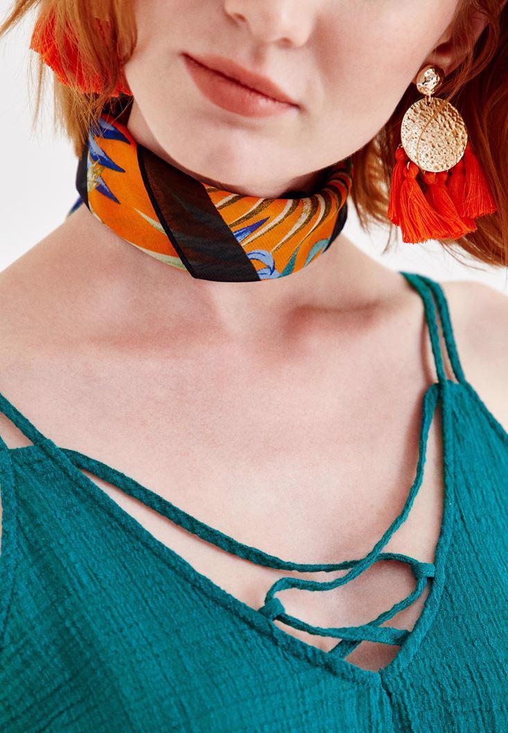 Bayan Çok Renkli Tropik Desenli Fular