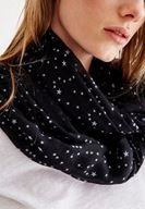 Women Black Scarf with Star Pattern and Tassel