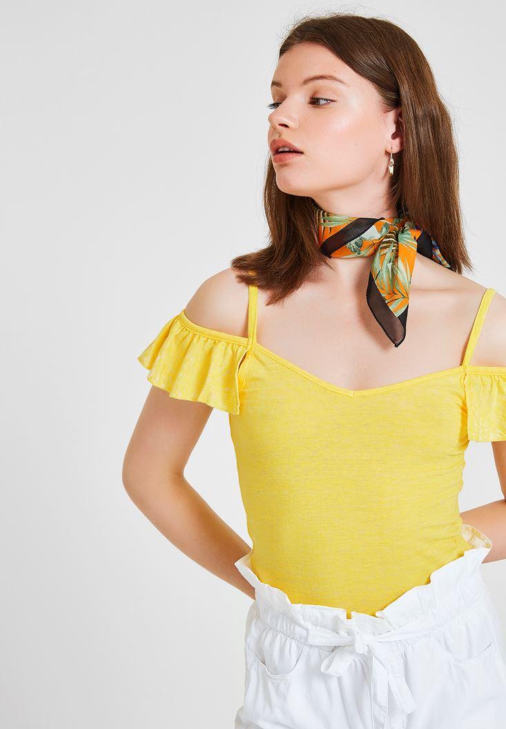 Sarı Omuzları Fırfırlı İnce Askılı Bluz