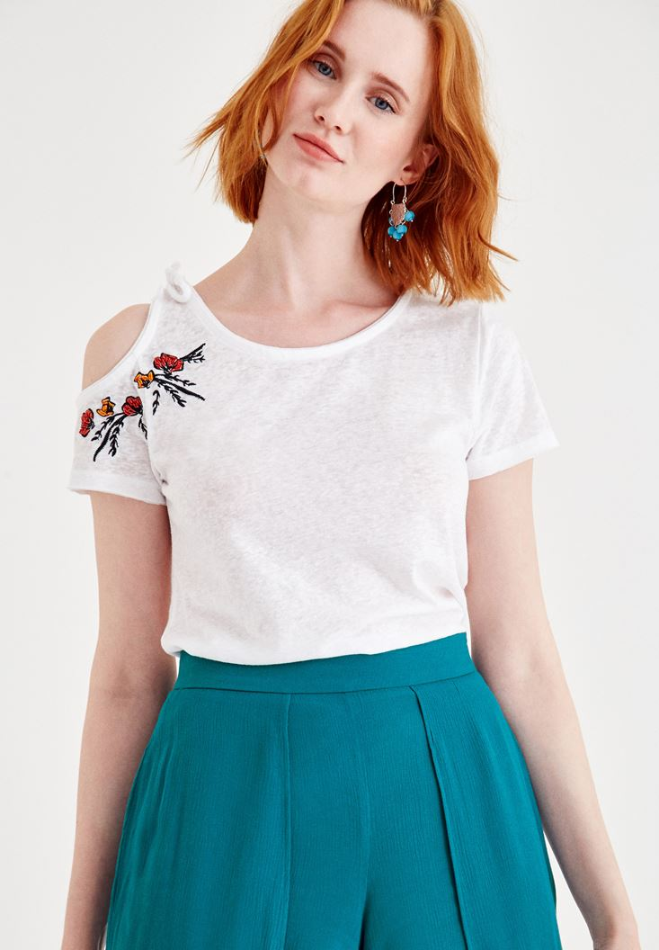 White Embroidered T-Shirt with Shoulder Details
