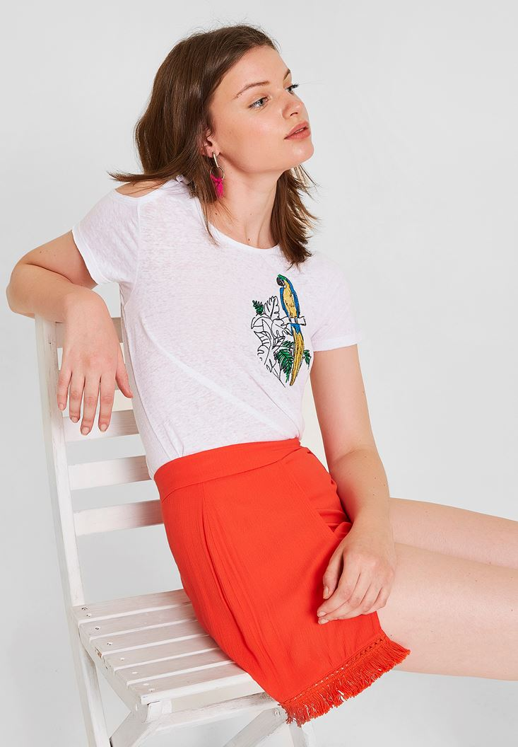 White T-Shirt with Shoulder and Embroidery