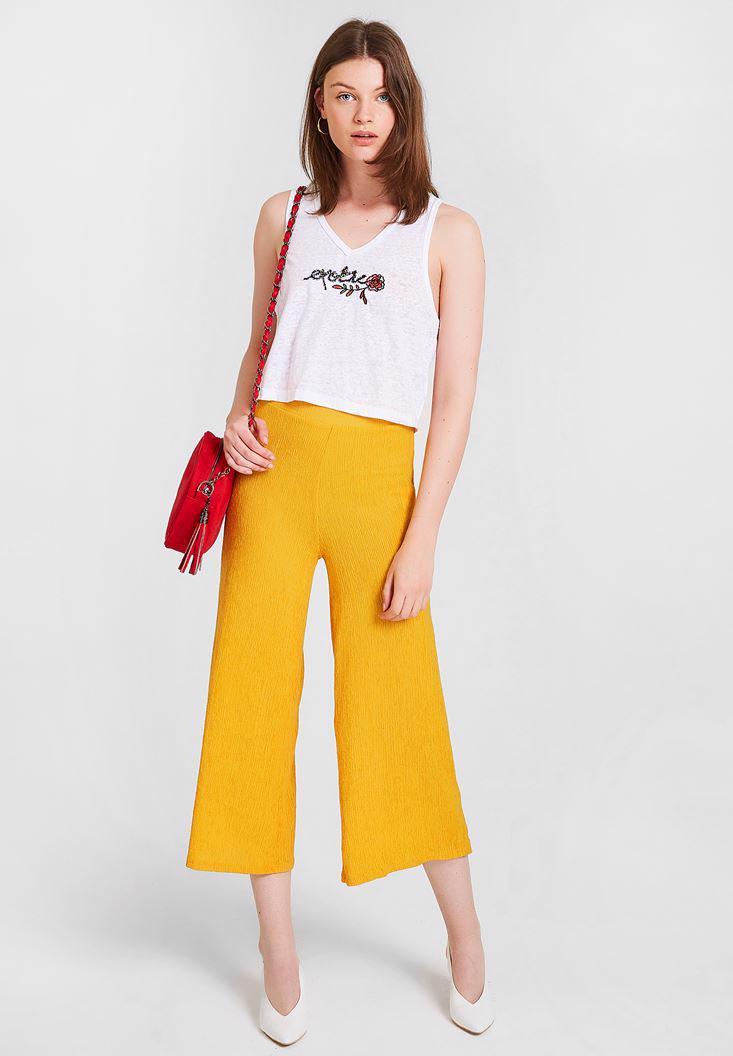 Bayan Beyaz Nakışlı Crop Bluz