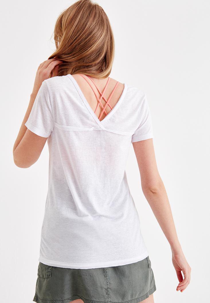 Bayan Beyaz Yarım Kol Baskılı Tişört
