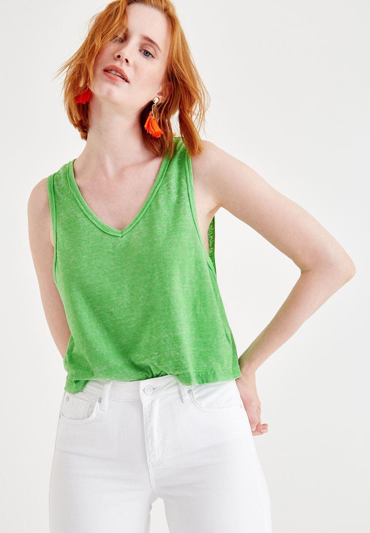 Yeşil Biyeli Kalın Askılı Bluz