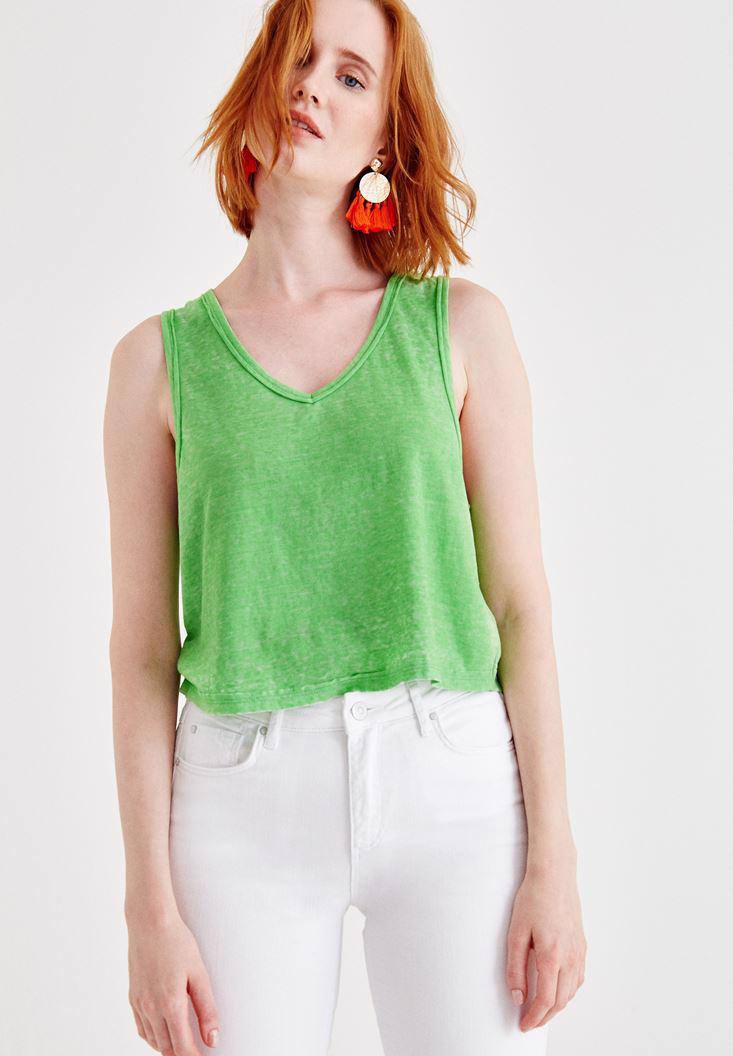 Bayan Yeşil Biyeli Kalın Askılı Bluz
