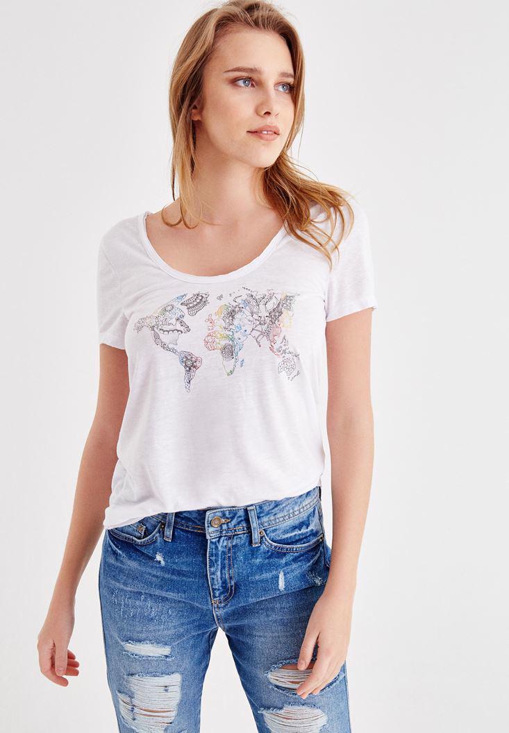 Bayan Beyaz Baskılı Yarım Kollu Basic Tişört