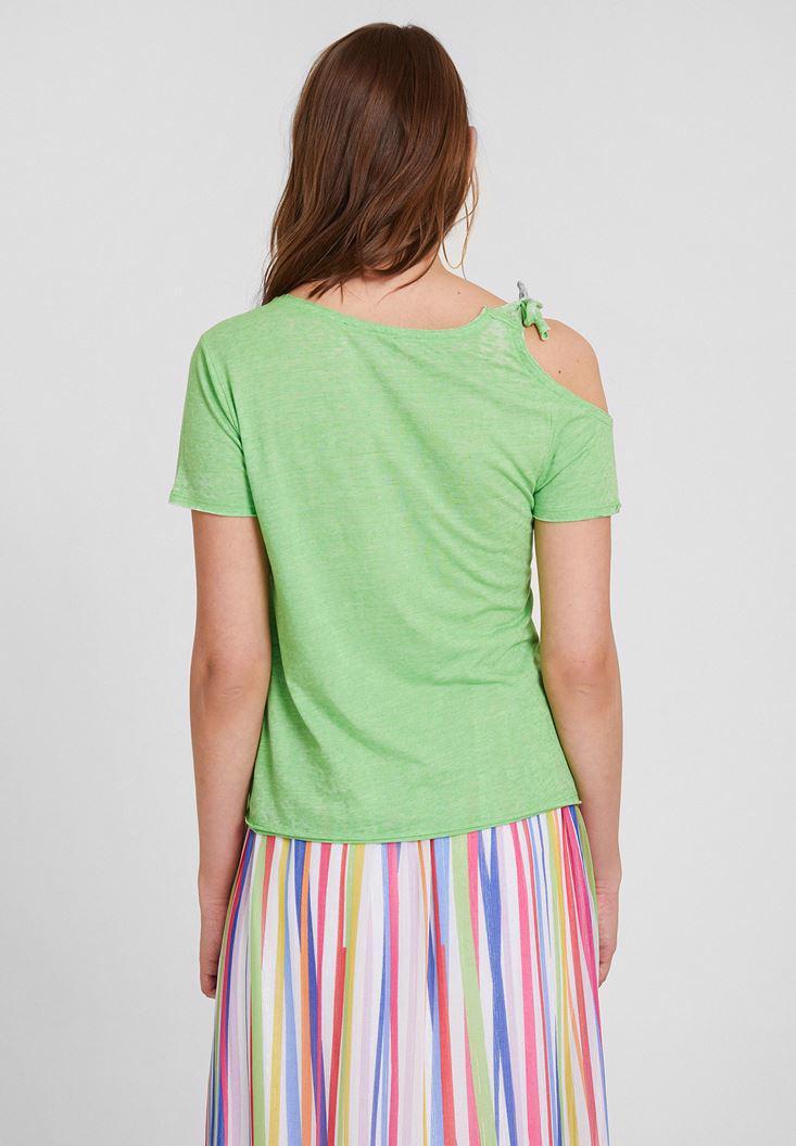 Bayan Yeşil Bağlama Detaylı Kısa Kollu Tişört
