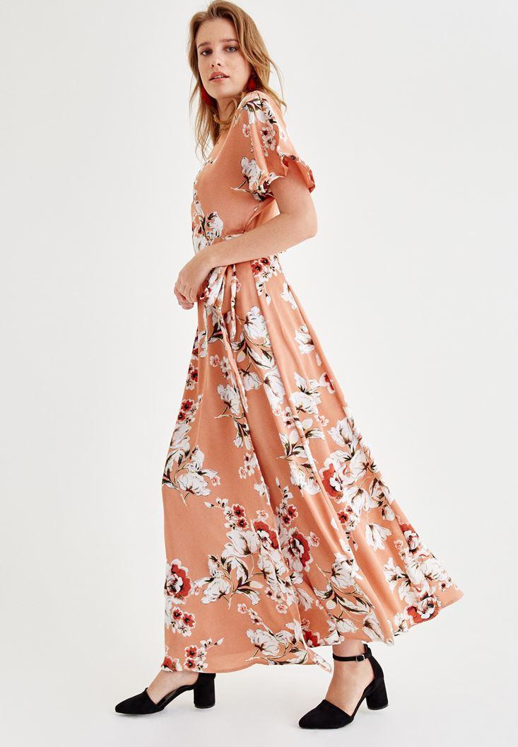 Çok Renkli Çiçek Desenli Kruvaze Uzun Elbise