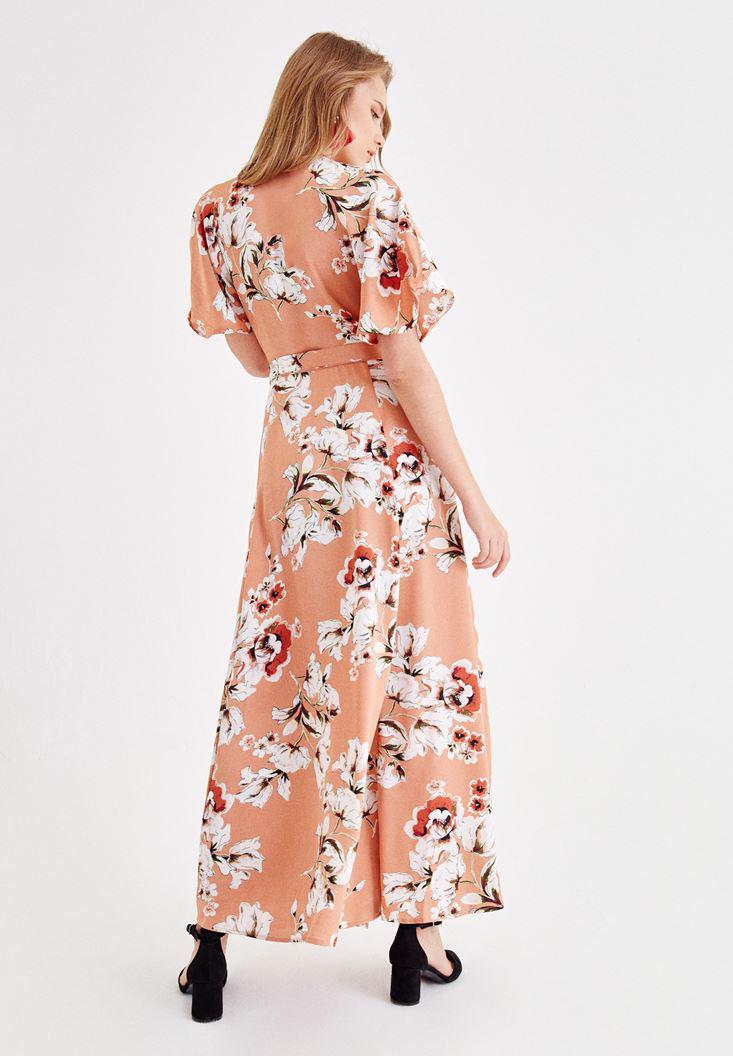 Bayan Çok Renkli Çiçek Desenli Kruvaze Uzun Elbise