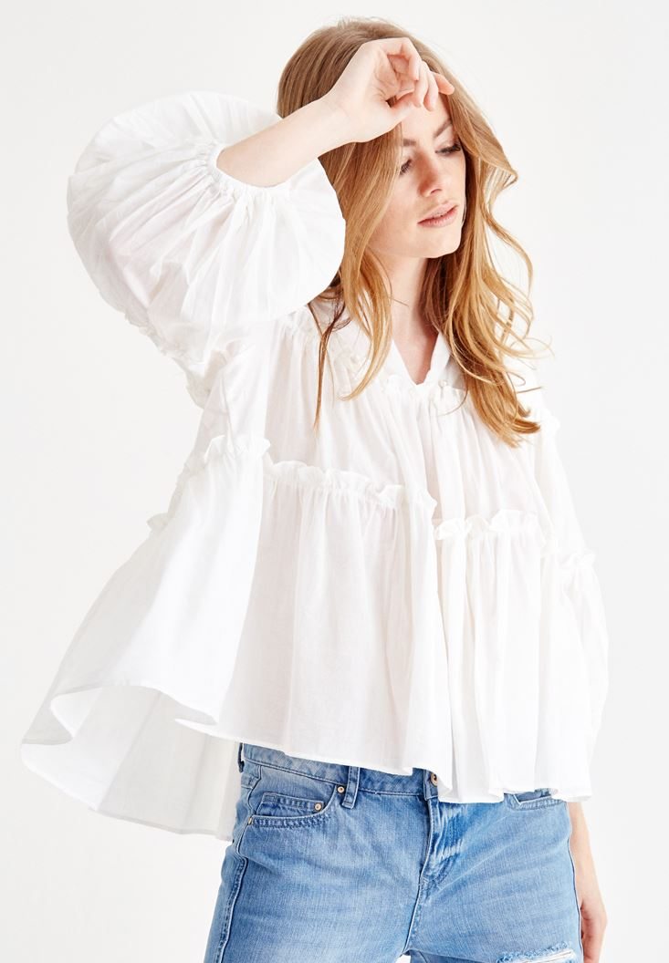 Cream Long Sleeve Blouse with Bead Details