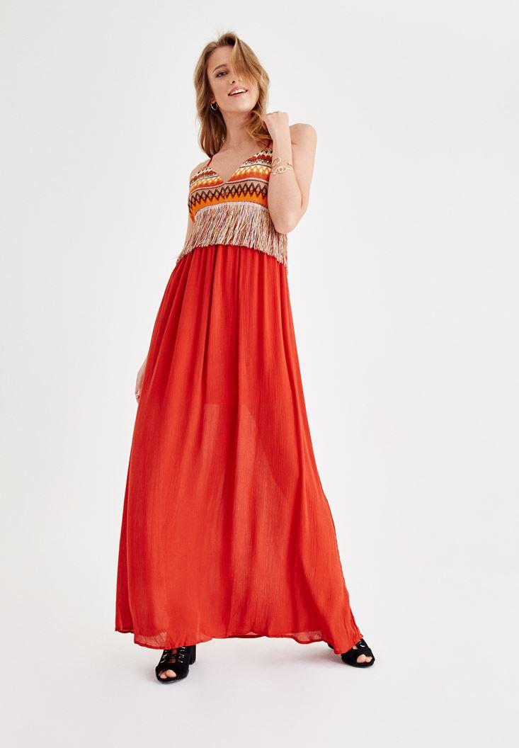 Turuncu Püskül Detaylı Uzun Elbise
