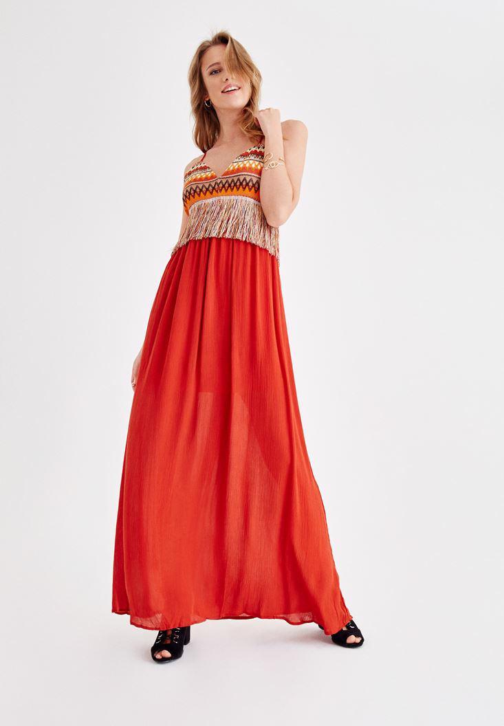 Bayan Turuncu Püskül Detaylı Uzun Elbise