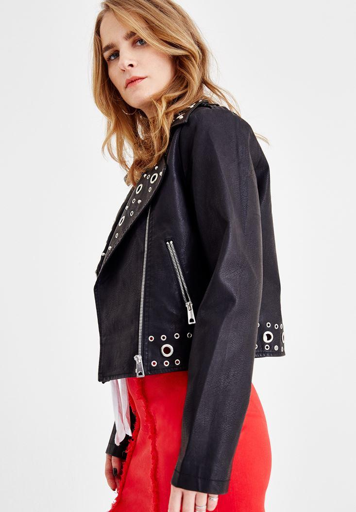 Black Jacket with Eyelet Details