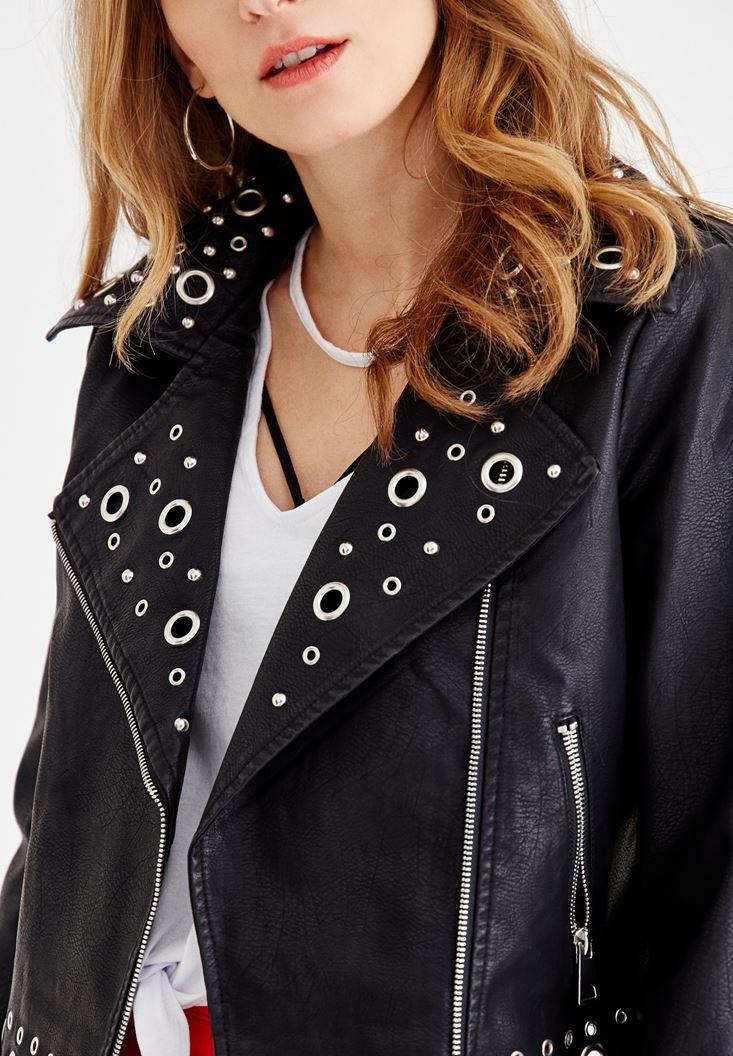 Bayan Siyah Kuşgözü Detaylı Deri Ceket