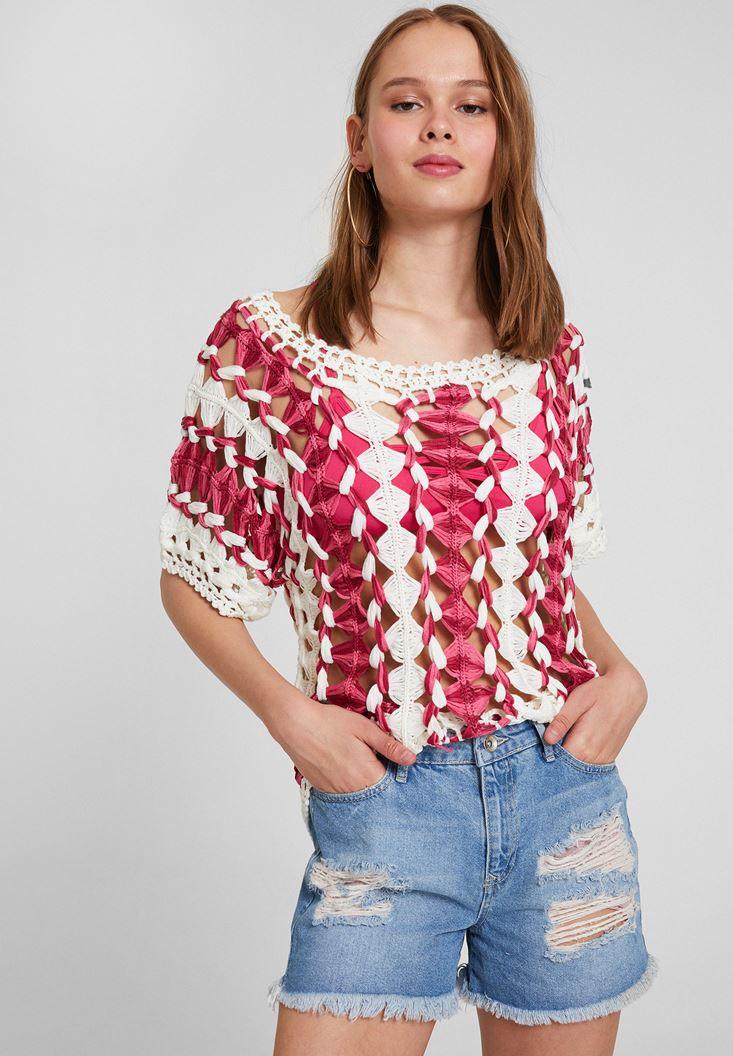 Red Short Sleeve Knitwear