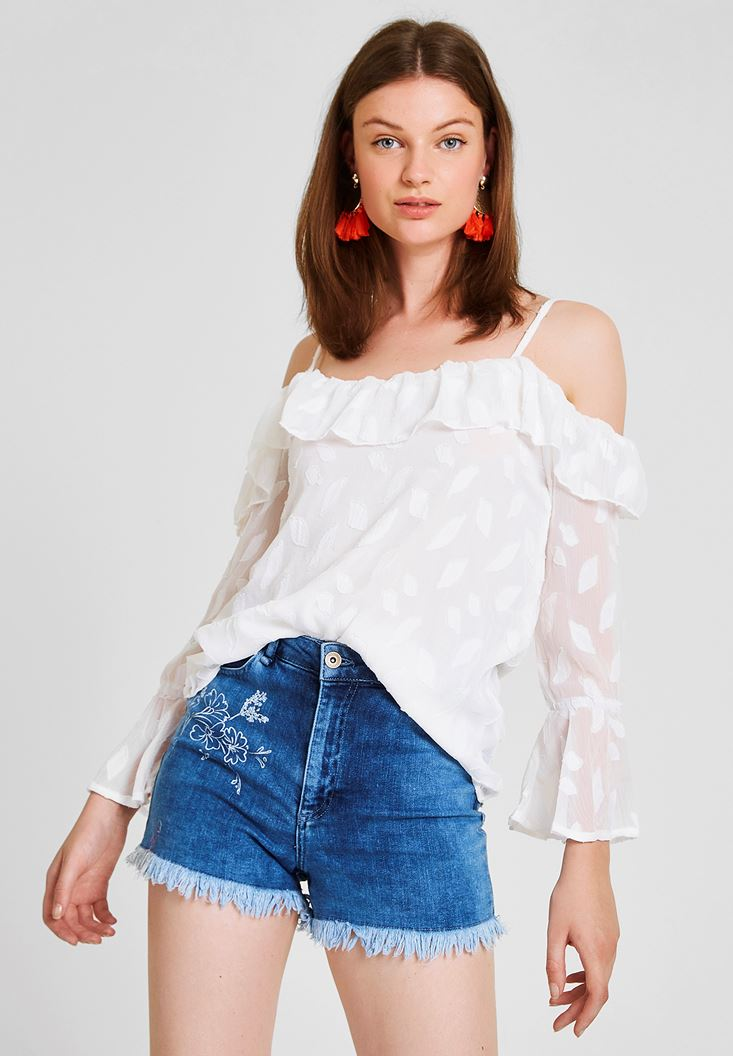 Cream Long Sleeve Blouse with Shoulder Details