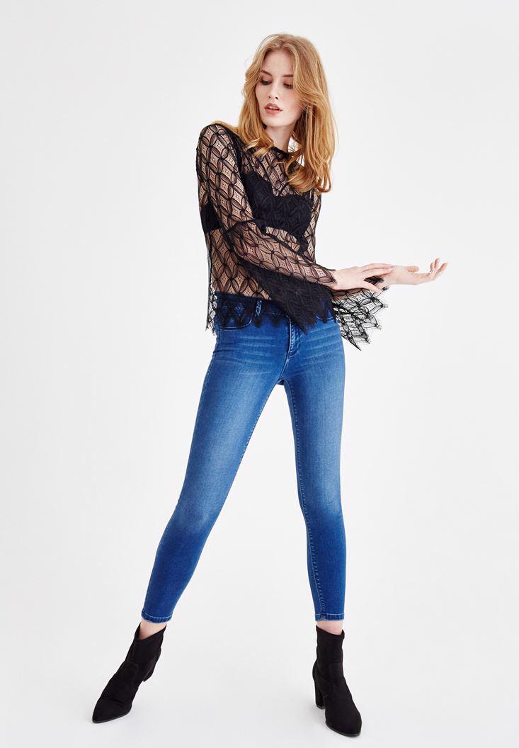 Bayan Siyah Kol Detaylı Transparan Bluz