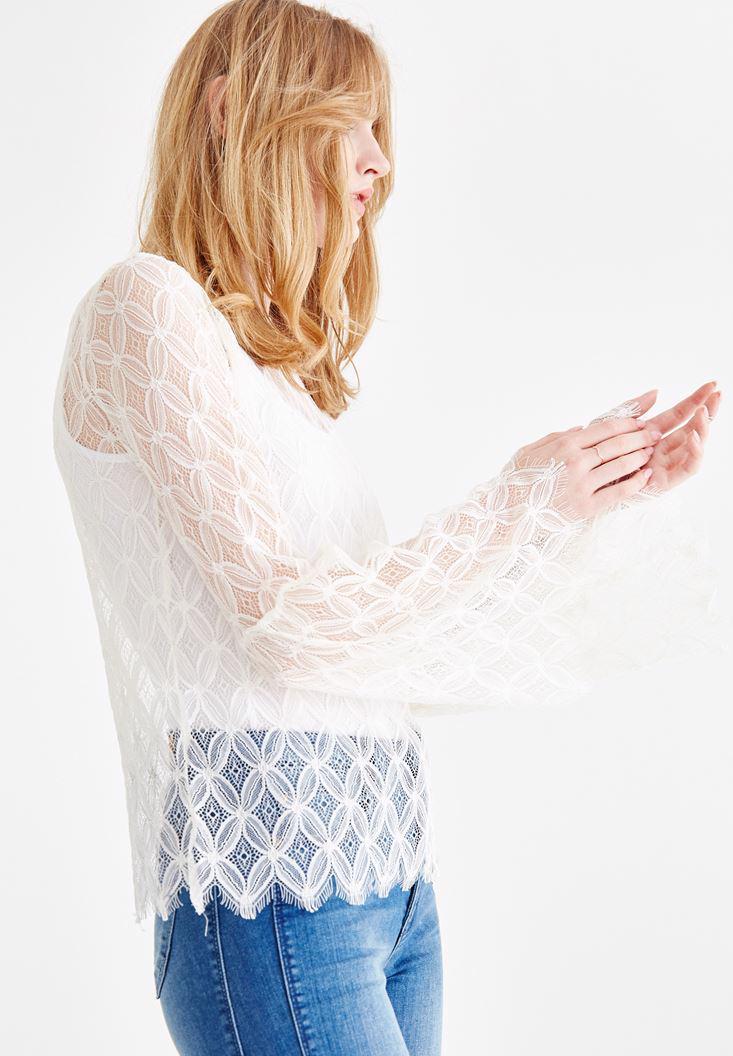 Bayan Krem Kol Detaylı Transparan Bluz