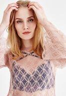 Bayan Pembe Kol Detaylı Transparan Bluz
