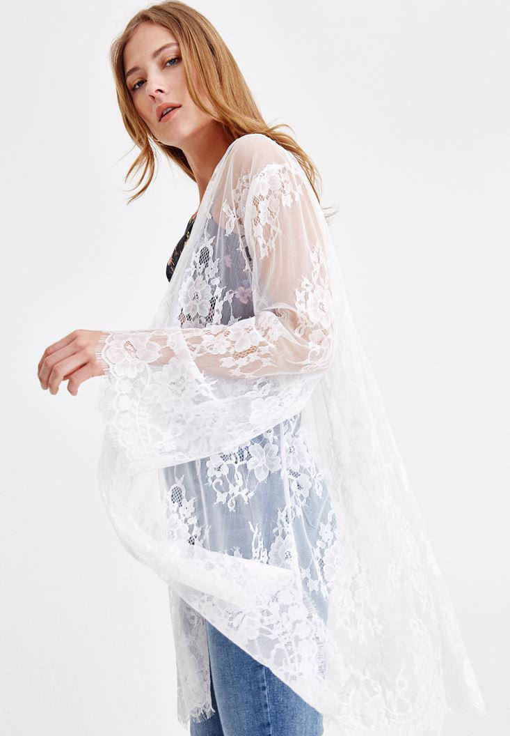 Women Cream Long Lace Jacket
