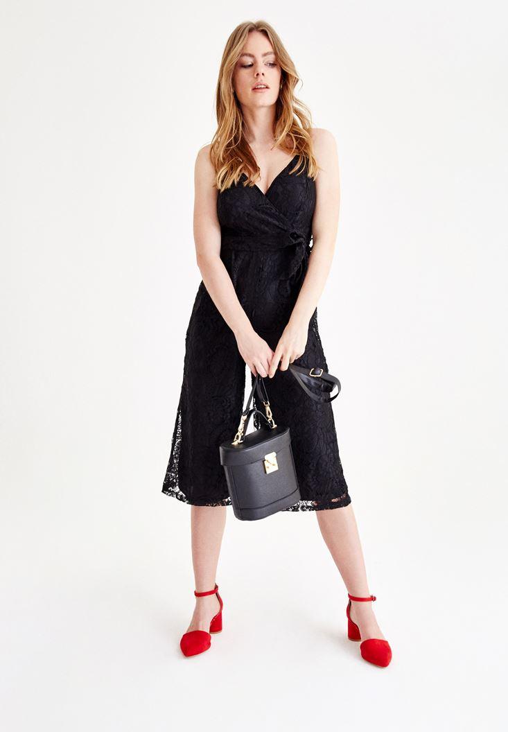 Black Jumpsuit with Lace Details