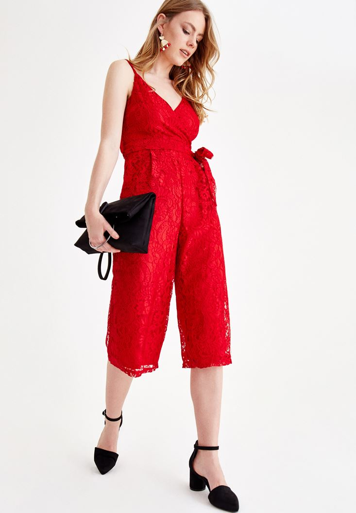 Red Jumpsuit with Lace Details