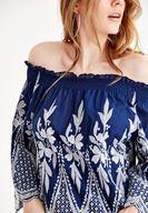 Bayan Lacivert Düşük Omuz Detaylı Nakışlı Bluz